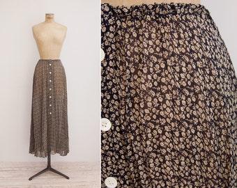 Vintage DKNY Skirt - Vintage 1990s Silk Chiffon Skirt - Black Floral Skirt Medium M
