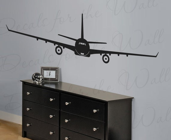 Jet airplane wall decal large vinyl decoration sticker for Airplane wall mural