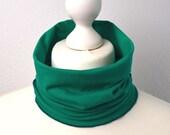 Tube scarf cotton jersey neckerchief neckcloth emerald green loop