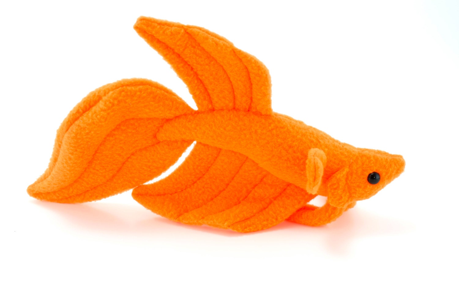Neon orange betta fish stuffed animal plush toy veil tail for Fish stuffed animal