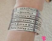 Set of 2 Metal Mojo Bracelets, Inspirational Bangles, Fitness Bracelets, Aluminum Cuff Bracelets, Inspiring Jewelry, Handstamped Bracelets