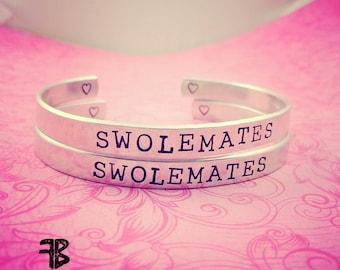 SwoleMates Bracelet Set, Workout Bracelets, Fitness Bracelets, Aluminum Cuff Bracelets, Bodybuilder Jewelry, Weightlifting Jewelry, Workout