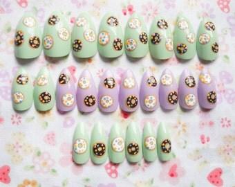 24 Set Kawaii Stiletto Nails / Fake Nails / False Nails / Press on / Donut / Doughnut / Pastel / Nails