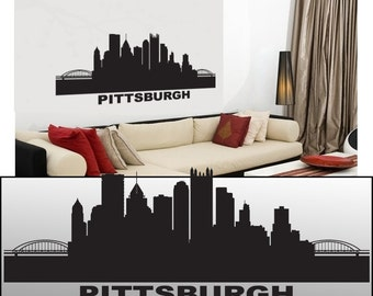 "Wall Decal Sticker Pittsburgh Skyline 21"" Tall 57"" Wide in White or Black"