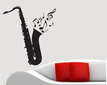"Wall Decal Sticker Removable Saxophone Music Notes 25.5"" Tall 22.5"" Wide in White or Black"