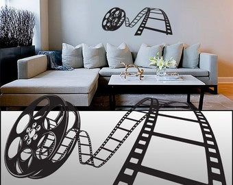 "Wall decal Movie Reel 23"" Tall 50"" Wide in White or Black"