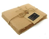 Brown handmade recycled kraft paper, 10 small sheets, 4.25 x 5.5 inch