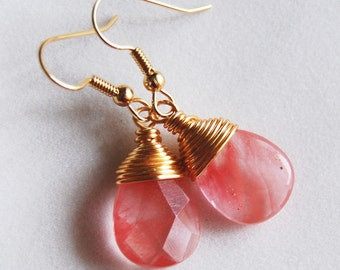 Pink Coral Earrings , Pink Gold Dangle Earrings , Cherry Quartz Earrings , Wire Wrapped Pink Earrings