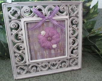 Shabby Chic purple and white floral framed art