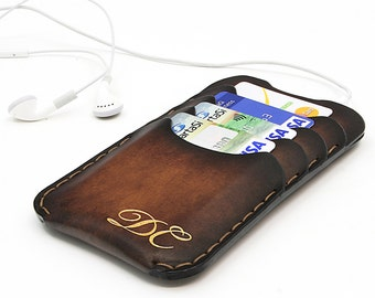 "Monogram iPhone 6/6s Leather Case / ""GullWings"" model designed by Odorizzi / iPhone Leather Sleeve / iPhone Leather Case / Free Engraving"