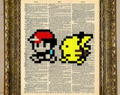 Pokemon Ash and Pikachu Dictionary Art