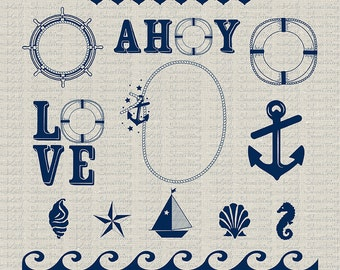 Digital Nautical Clipart Images & Photoshop Brushes, Indigo Blue, Instant Download, Commercial Use, Scrapbooking, Printables, Invitations