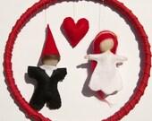 Felt Mobile,Weeding Decoration,Bride And Groom in hoop,Waldorf Style Dolls