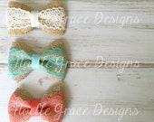 Set of 3 Burlap & Lace Bows Clips or Headbands girls, baby, newborn, shower, toddler, bows, photography, prop, gift, cream, mint, coral