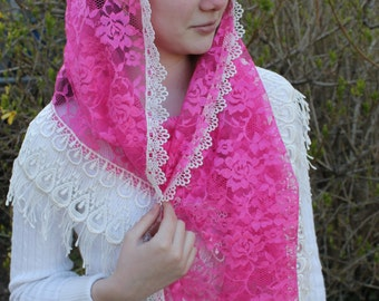 Chapel Veil/ Lace Mantilla/  Catholic Veil / Traditional Mass Veil/  Headcovering/ Latin Veil/ Church Veil / The Claudine Thévenet Veil.