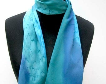Turquoise Silk Scarf, Hand Painted  Crepe de Chine