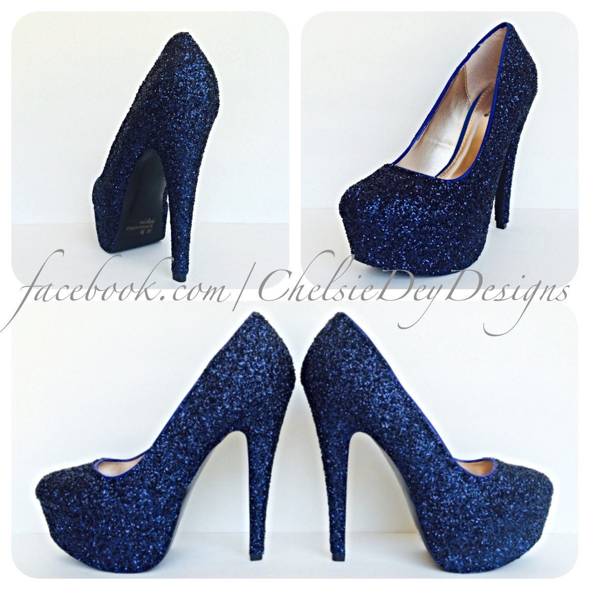 Navy Blue High Heels Glitter High Heel by ChelsieDeyDesigns