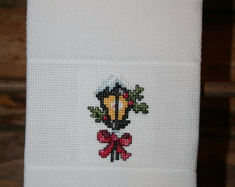 Cross Stitched Huck Towel With Lamp Post and Ribbon and Pine Strips With Berries.