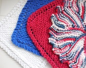 Land of the Free, Patriotic, set of four Hand knit Cotton Dish Cloths, Dishcloth, Kitchen Gift Idea,  July 4th,Memorial Day,