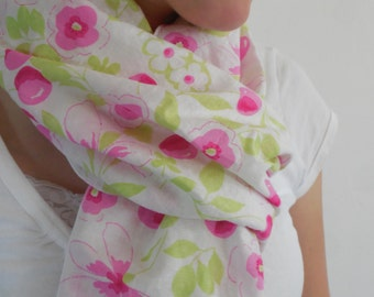 76 inches, Pink, Green, and White Cherry Flowered Fringed Scarf, Linen Scarf, Lightweight Summer Scarf,