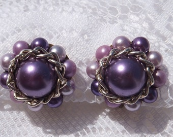 Lavender Vintage Earrings, Signed Japan Cluster Clip On, Violet And Lilac Shades Of Faux Pearls, Mother's Day, Birthdays, W/ Gift Box, VE119