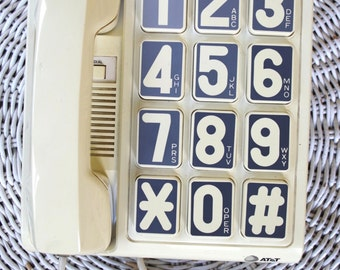 Vintage 1980s AT&T Mod Telephone Phone with Huge Numbers
