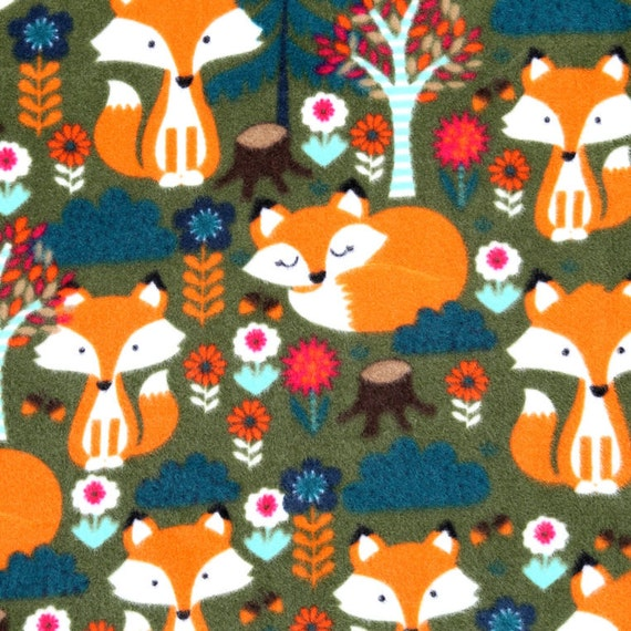 Fox in the country double layer fleece print by for Fox print fabric