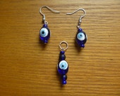 beaded earrings and matching pendant, Nazar Boncuk charm, ecofriendly