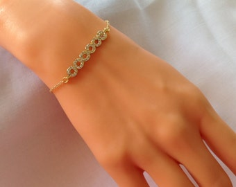 Gold Plated Delicate Bracelet, Rhinestone Gold Jewelry,Gold Jewelry, Gold Bracelet, Rhinestone Charm , Christmas Gifts, Best Gifts Ever,