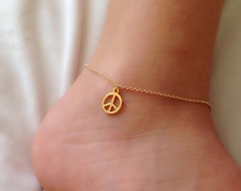 Peace Sign Anklet,Ankle  Bracelets,Freedom Sign Gold Plated Bracelet,Gold Jewelry , Gold Bracelet,Trendy jewelry,Charm Jewelry