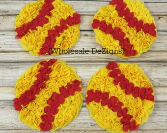 "Softball Chiffon Rosettes - Red and Yellow Balls - Soft Ball - Sports Applique - 4"" wide"
