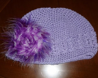 Girls  Lavendar Chemo Cotton Crochet Knit Hat Hand Decorated with Purple  Maribou Puff and Flower