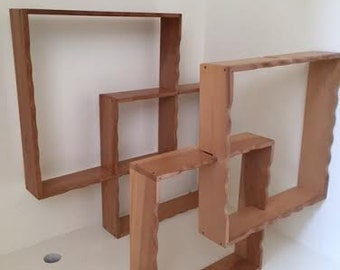 A Pair of Two Vintage Empty Wooden Shadowbox Shelf Wall Hanging Set