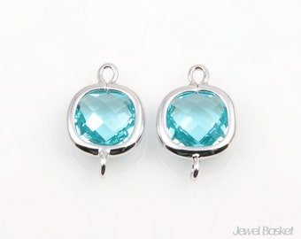 Aquamarine Glass and Silver Framed Connector - 2pcs Mint Square Connector, Earrings Jewelry Connector / 9x14mm / SAQS068-C