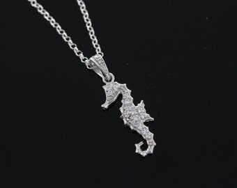 925 Sterling silver Seahorse Necklace, Silver seahorse Jewelry, Seahorse pendant