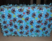 """Thomas the Tank Engine Child's Tie Blanket  SIZE: 51"""" X 39"""" (measurement does not include fringe)"""