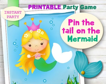 PIN THE TAIL on the Mermaid (Blonde) - Printable party game. instant Download, Digital Product.