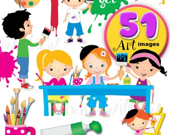 ARTY CRAFTY Clip Art Set - 51 vibrant images in Png, Jpeg & Vector files.