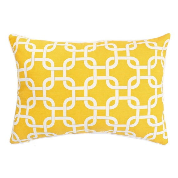Sale Lumbar Throw Pillow Covers Yellow One 12 X 18. by ThePillowCo