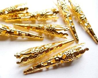 10 Gold Filigree Bead Caps - 18-9