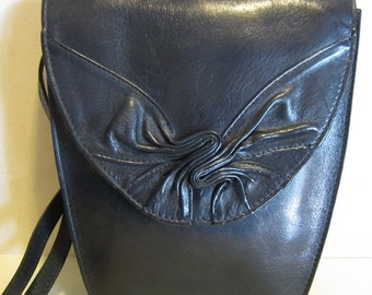 Cute vintage blue leather sling, small shoulder bag,