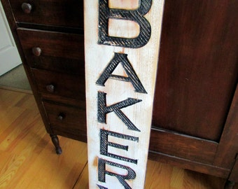 """Vertical Bakery Sign - Carved in a 42"""" Cypress Board Rustic Distressed Shop Advertisement Farmhouse Style Restaurant Cafe Wooden Wood Gift"""