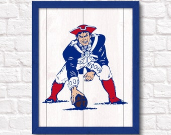 NEW ENGLAND PATRIOTS rustic handmade sign - Retro Boston Patriots wall sign for Boys room or Man cave Sports Bar decor - Fathers Day gift