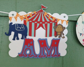 High chair banner I am ONE elephant monkey circus party sign decorations red aqua blue gray white