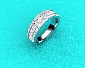 14K white gold diamond band.