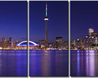 Framed Huge 3 Panel City Skyline Harbour Toronto Giclee Canvas Print - Ready to Hang
