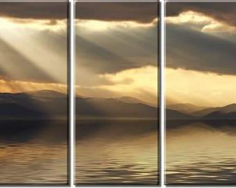 Framed Huge 3-Panel Sun Rays Ocean Mountain Canvas Art Print - Ready to Hang