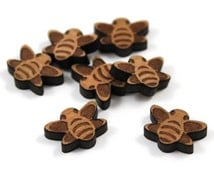 Laser Cut Supplies-8 Pieces.Bee Charms - Laser Cut Wood Bee -Earring Supplies- Little Laser Lab Sustainable Wood Products