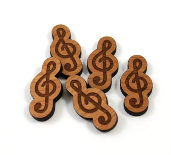 Laser Cut Supplies-8 Pieces.Treble Clef Charms- Laser Cut Wood Treble Clef-Earring Supplies-Little Laser Lab Sustainable Wood Products