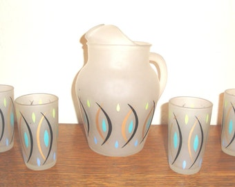 Vintage Mid Century Modern Hazel Atlas Frosted Juice Pitcher and Glass Set Retro Abstract